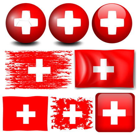 switzerland flag: Switzerland flag on different items illustration Illustration