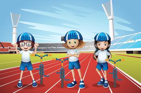 Three kids riding bike on the track illustration