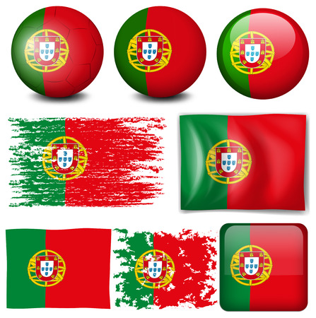 signal device: Portugul flag on many items illustration