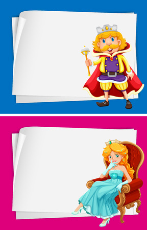 king and queen: Paper design with king and queen illustration