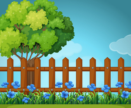 fences: Scene with wooden fence in garden illustration