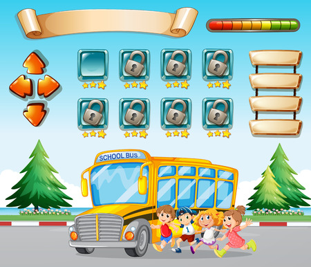 road trip: Game template with kids and schoolbus illustration