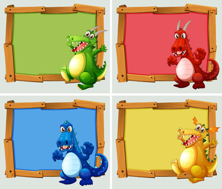 wooden board: Wooden frame with dragons illustration