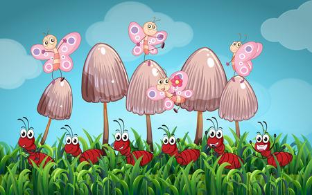 hormiga caricatura: Escena con las mariposas y las hormigas en el jardín de la ilustración Vectores