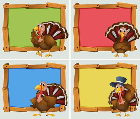 Frame designs with turkeys illustration