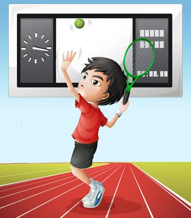 score board: Tennis player and score board illustration
