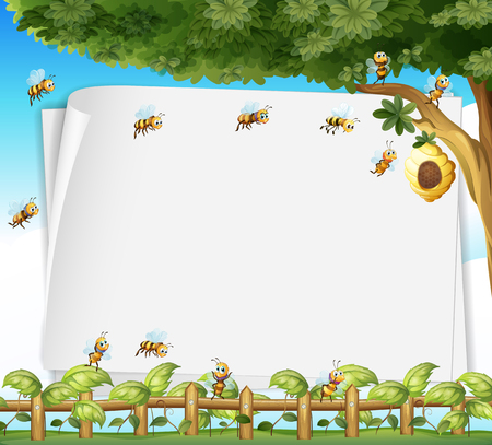 Paper design with bees and beehive illustration