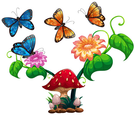 Butterflies flying around mushroom and flower illustration