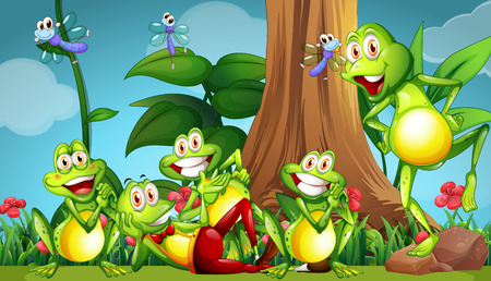 tiny frog: Five frogs and dragonflies in the garden illustration