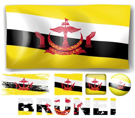 brunei: Brunei flag in different designs illustration