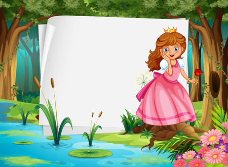 fantacy: Paper design with princess in the woods illustration Illustration