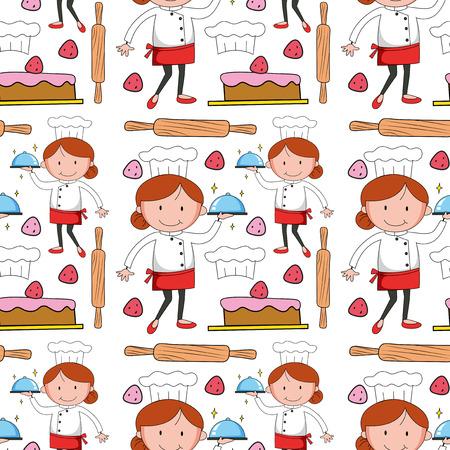 baker cartoon: Seamless baker and cake illustration
