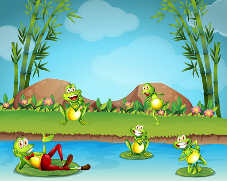 tiny frog: Five frogs living by the pond illustration