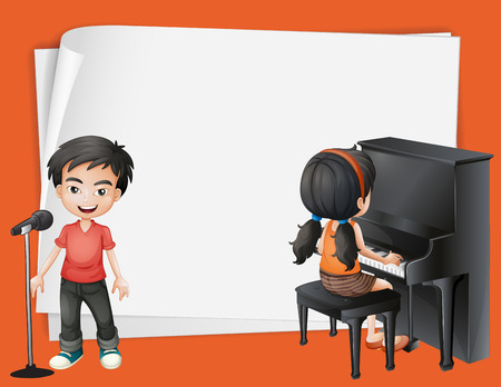 desing: Paper desing with girl playing piano and boy singing illustration Illustration