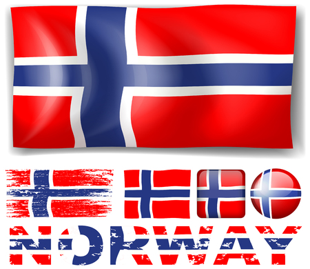 norway flag: Norway flag in different designs illustration