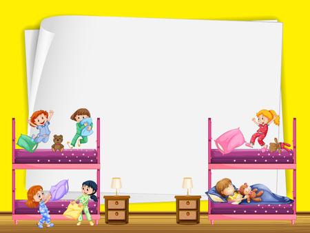 slumber party: Paper design with kids in bunkbed illustration