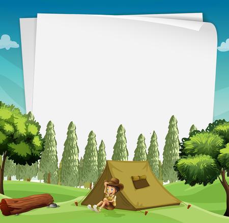 Paper design met man kamperen in het bos illustratie Vector Illustratie
