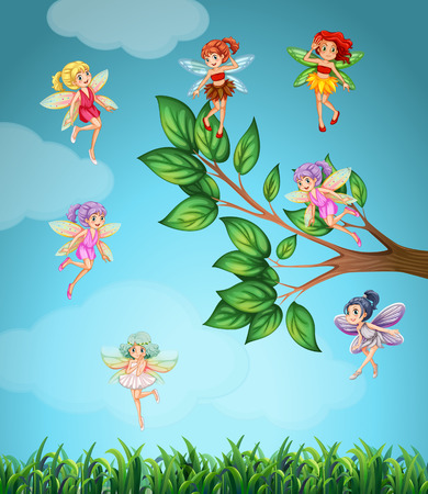 elf cartoon: Fairies flying in the sky illustration Illustration