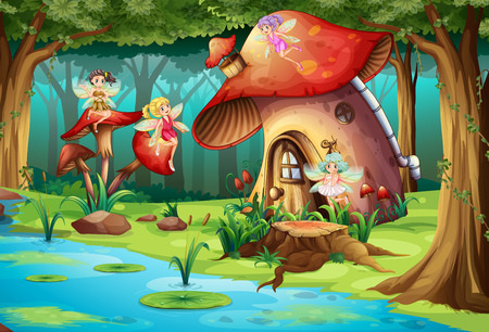 Fairies flying around mushroom house illustration