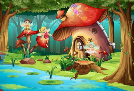 lake of the woods: Fairies flying around mushroom house illustration