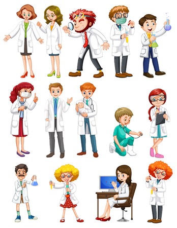 dental assistant: Male and female scientists in white gown illustration