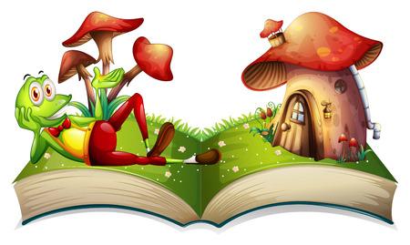 mushroom house: Book of frog and mushroom house illustration