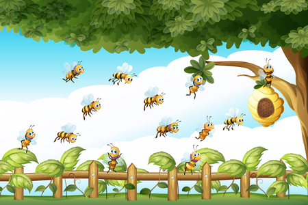 Scene with bees flying around beehive illustration 일러스트