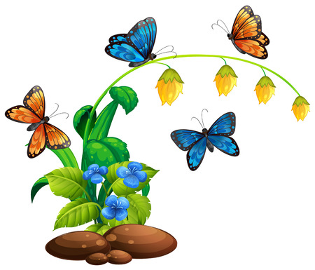 Butterflies flying around the plant illustration