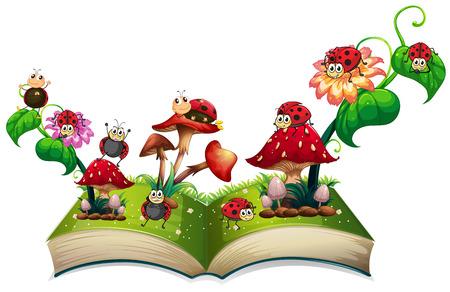 Livre de coccinelles et champignons illustration Vecteurs