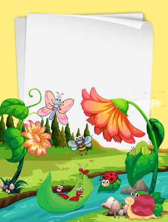 Papier ontwerp met insecten door de rivier illustratie