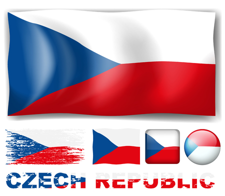 square image: Czech Republic flag in different design illustration