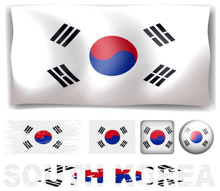 korea flag: South Korea flag in different designs illustration Illustration