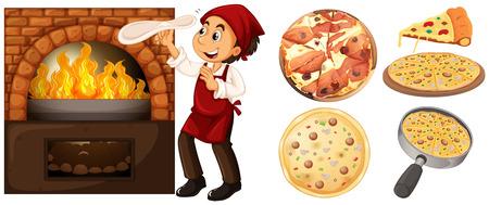 stove: Chef making pizza at hot stove illustration Illustration