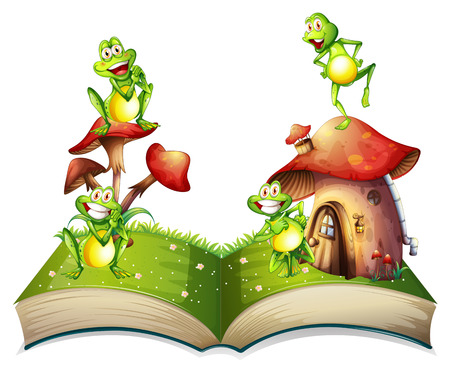 storybook: Book of toads and toadstool illustration