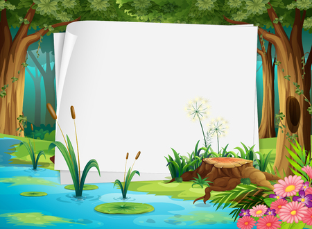 Paper design with pond in forest illustration Vectores