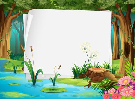 selva: Diseño de papel con estanque en la ilustración del bosque
