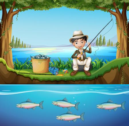 man fishing: Man fishing in the river illustration Illustration
