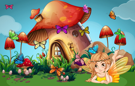 Fairy and butterflies at mushroom house illustration