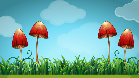 fields  grass: Scene with mushrooms in the field illustration