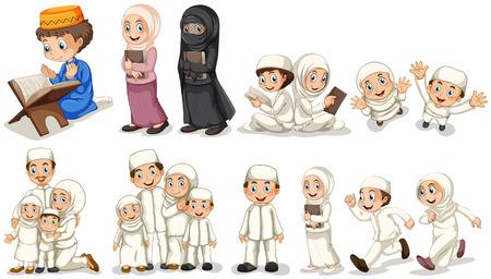 hombre orando: los musulmanes en diferentes acciones ilustración