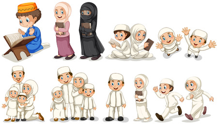 man praying: Muslim people in different actions illustration Illustration