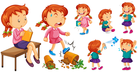 angry teenager: Girl doing different activities illustration