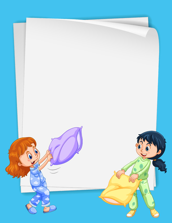 slumber party: Paper design with two girls in pajamas illustration Illustration