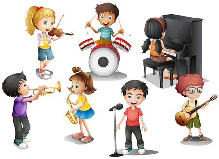 gitara: Dzieci bawiące się różne instrumenty ilustracji