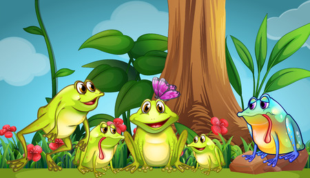 tiny frog: Frogs sitting on the grass illustration
