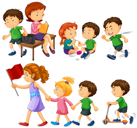 walk: Boy in green shirt doing different activities illustration Illustration