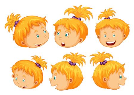 dessin enfants: Fille avec différentes expressions faciales illustration Illustration