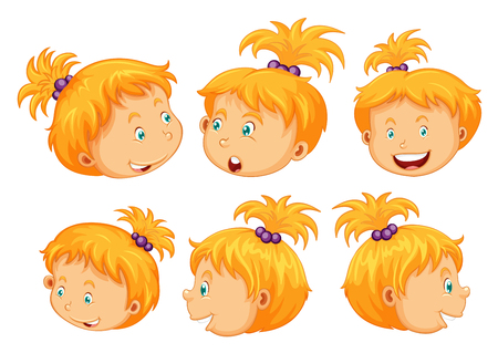 children drawing: Girl with different facial expressions illustration