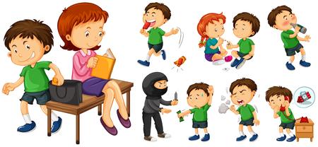 crimes: Bad boy doing different crimes illustration Illustration