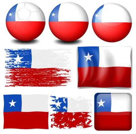 chile flag: Chile flag in different designs illustration